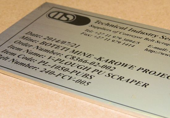 Laser engraved stainless steel tags
